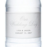 Personalized Water Bottles - Our Wedding Day (Silver)
