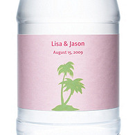 Personalized Water Bottles - Palm Trees (Pink)