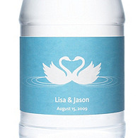 Personalized Water Bottles - Swans (Blue)