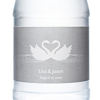 Personalized Water Bottles - Swans (Silver)