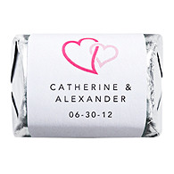 Personalized HERSHEY'S NUGGETS® Chocolates - Double Heart (Pink)