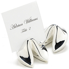 Fortune Cookie Place Card Holders - Silver-plated