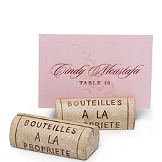 Wine Cork Resin Place Card Holder Set