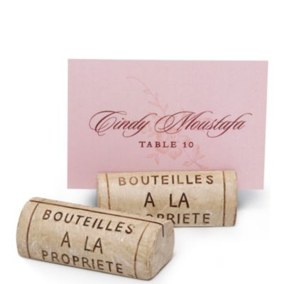 Wine Cork Resin Place Card Holder Set