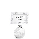 """Snow Flurry"" Glass Ornament Place Card Holders"