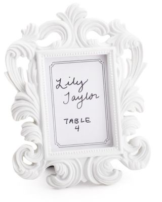 White Baroque Place Card Frame