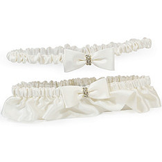 Silk Wedding Garter with Rhinestones & Tossing Garter