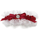Satin Garter with Rhinestone - Red