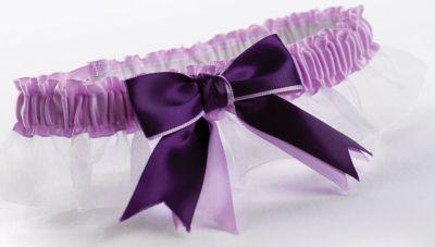 Two-Ribbon Custom Color Garter - White