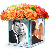 Glass Photo Cube Vase