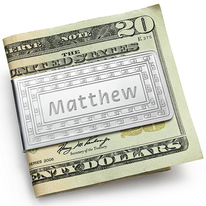 Patterned Chrome Money Clip