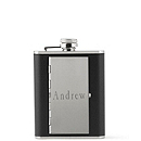 Black Leather Hip Flask and Cigarette Case