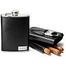 Black Leather Flask and Cigar Case Set