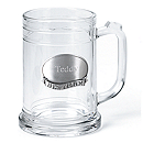 Pewter Medallion Glass Mug