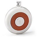 Round Leather Flask with Shot Glass