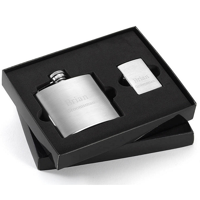Brushed Flask & Zippo Lighter Gift Set