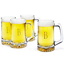 Engraved Glass Beer Mug Set