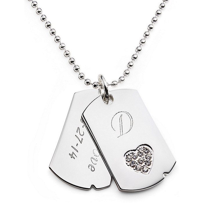 Rhinestone Dog Tag Necklace