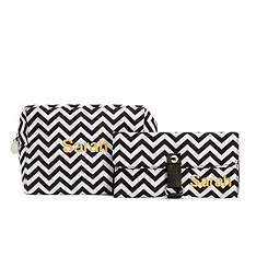 Chevron Cosmetic Bag and Brush Set