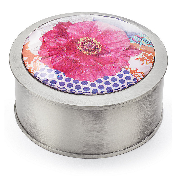 Pink Floral Glass Jewelry Box
