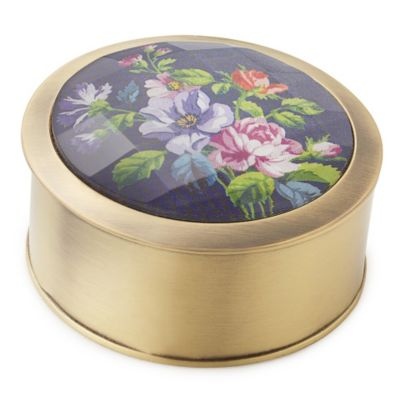 English Rose Glass Jewelry Box