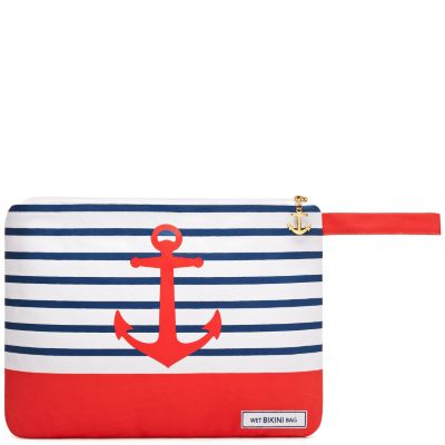 Canvas Wet Bikini Bag - Red Anchor
