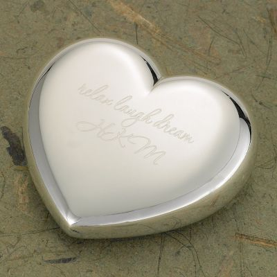 Personalized Silver-plated Heart Paper Weight