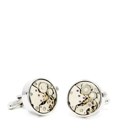 Steampunk Silver Watch Movement Cuff Links