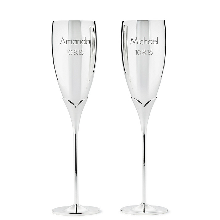 Silver-Plated Champagne Flutes