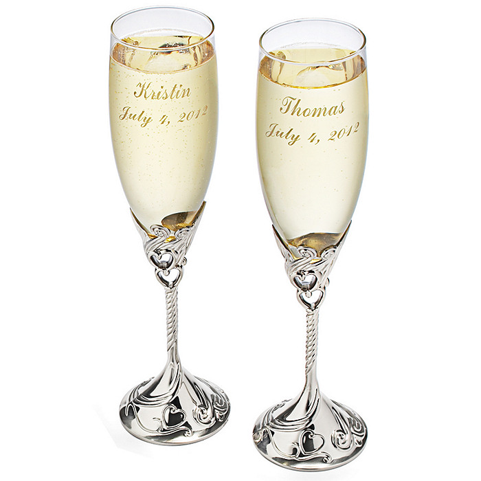 Satin Finish Toasting Flutes