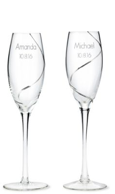 Silver Swirl Toasting Flutes