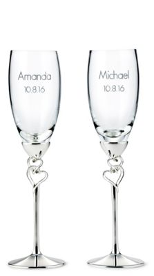 Entwined Heart Toasting Flutes