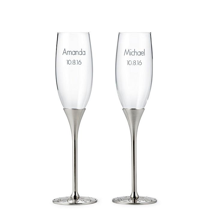 Silver Parisian Romance Toasting Flutes