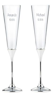Waterford Lismore Bead Silver Stem Toasting Flutes