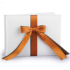 Two-Ribbon Custom Color Guest Book - Ivory