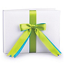 Two-Ribbon Custom Color Guest Book - White