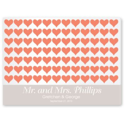 Personalized Guest Signature Frame - Coral Hearts