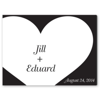 Personalized Guest Signature Frame - Modern Black & White Heart