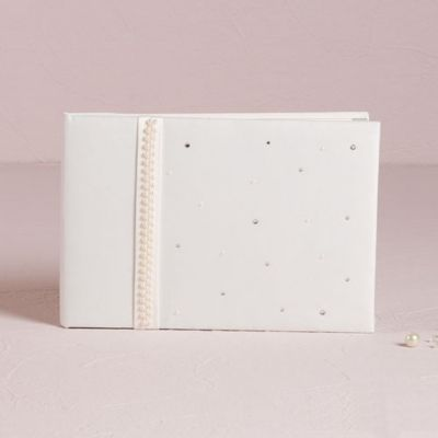 Scattered Pearls & Crystals Traditional Guest Book