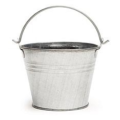 silver favor pail