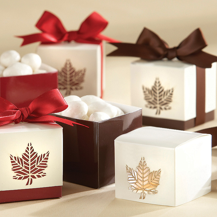 """Autumn Elegance"" Laser-Cut Fall Leaf Favor Boxes"