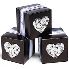 Black Heart-shaped Window Favor Boxes