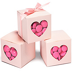 Pink Heart-shaped Window Favor Boxes