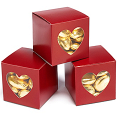 Merlot Heart-shaped Window Favor Boxes