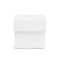 Square Favor Boxes - White Shimmer