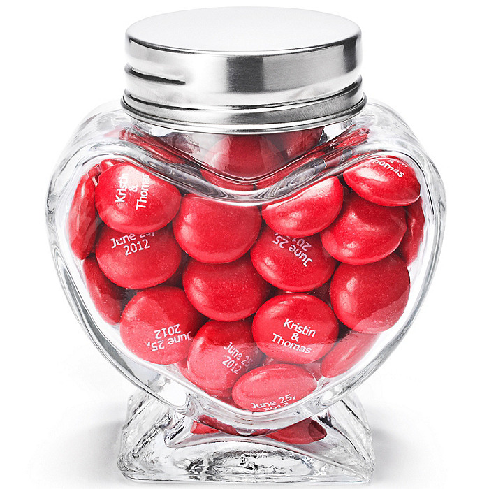 Heart Shaped Glass Jar Favor Holder