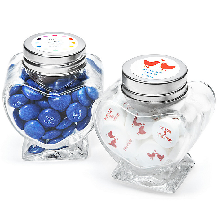 Personalized Heart Shaped Glass Jar Favor Holders