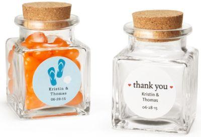 Personalized Square Glass Favor Jar