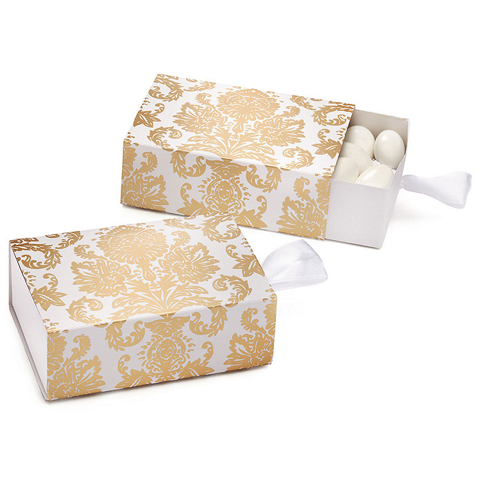 Damask Wedding Favor Boxes : Gold damask favor box