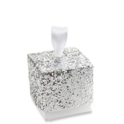 Sparkle and Shine Silver Glitter Favor Boxes